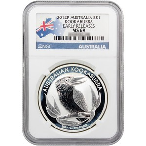 2012 P Australia Silver Kookaburra 1oz MS69 ER NGC Country Label