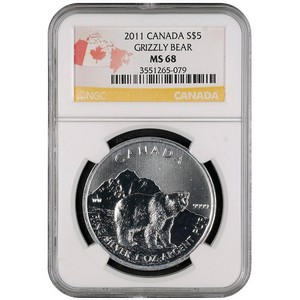 2011 Canadian Silver Grizzly 1oz MS68 NGC
