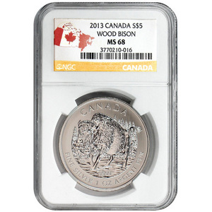 2013 Canada Silver Wood Bison 1oz MS68 NGC Country Label
