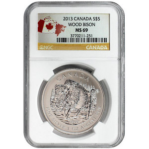2013 Canada Silver Wood Bison 1oz MS69 NGC Country Label