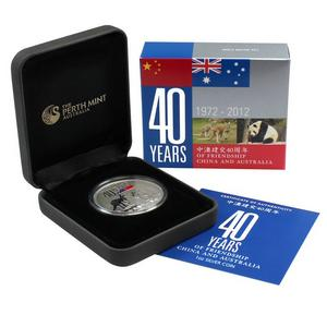 2012 P Australia China 40 Years Friendship 1oz Silver Proof Coin