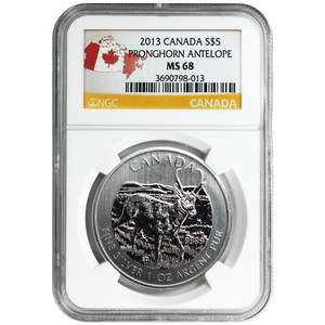 2013 Canadian Silver Pronghorn Antelope 1oz MS68 NGC Country Label