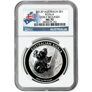 2013 Australia Silver Koala 1oz MS70 ER NGC Country Label