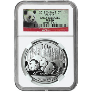 2013 China Silver Panda 1oz MS69 ER NGC Panda Label