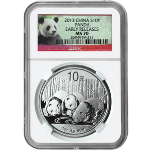 2013 China Silver Panda 1oz MS70 ER NGC Panda Label