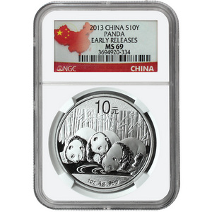 2013 China Silver Panda 1oz MS69 ER NGC Country Label