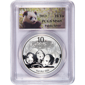 2013 China Silver Panda 1oz MS69 PCGS Panda Label