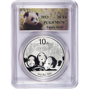 2013 China Silver Panda 1oz MS70 PCGS Panda Label