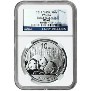 2013 China Silver Panda 1oz MS69 ER Blue Label