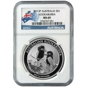 2013 P Australia Silver Kookaburra 1oz MS69 NGC Country Label