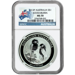 2013 P Australia Silver Kookaburra 1oz MS70 NGC Country Label