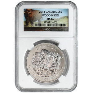 2013 Canada Silver Wood Bison 1oz MS69 NGC Bison Label
