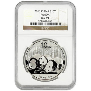 2013 China Silver Panda 1oz MS69 NGC Brown Label