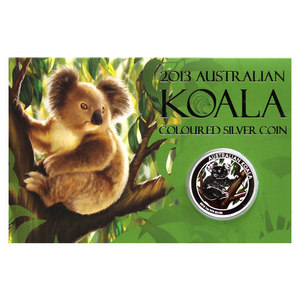 2013 P Australia Silver Koala 1oz Colorized Proof Coin