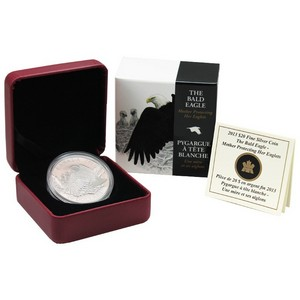 2013 Canada Silver Bald Eagle Protecting Her Nest 1oz Proof