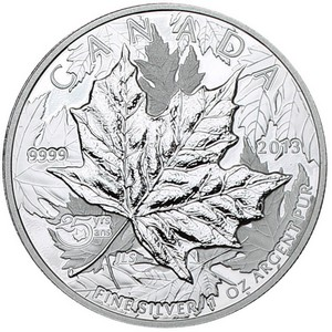 2013 Canada Silver 25th Anniversary Maple Leaf 1oz High Relief Piedfort Proof