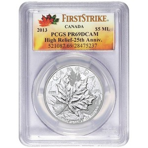2013 Canada Silver 25th Anniversary Maple Leaf 1oz High Relief Piedfort PR69 DCAM FS PCGS Maple Leaf Label