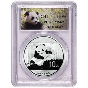 2014 China Silver Panda 1oz MS69 PCGS Panda Label