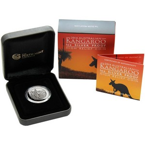 2014 P Australia Silver High Relief Kangaroo 1oz Proof in OGP