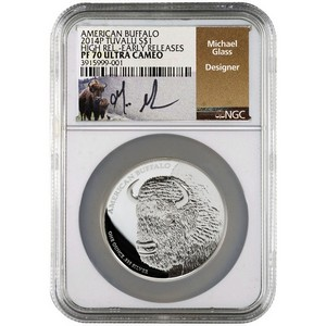 2014 P Tuvalu Silver American Buffalo 1oz High Relief PF70 UC ER NGC Michael Glass Signature Buffalo Label