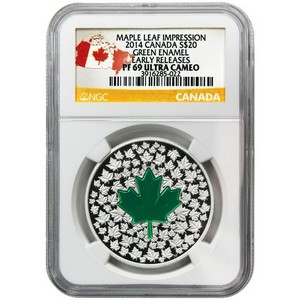 2014 Canada Silver Maple Leaf Impression Enameled 1oz PF69 UC ER NGC Country Label