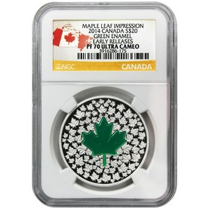 2014 Canada Silver Maple Leaf Impression Enameled 1oz PF70 UC ER NGC Country Label