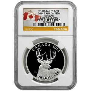 2014 Canada Silver White-Tailed Deer Portrait 1oz PF70 UC ER NGC Country Label