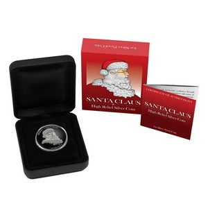 2014 P Tuvalu Silver Santa Claus 1oz High Relief Proof in OGP