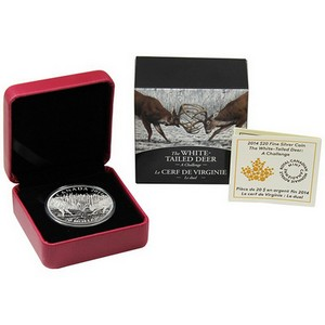 2014 Canada Silver White-Tailed Deer A Challenge 1oz Proof in OGP