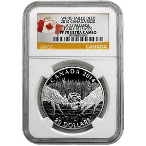 2014 Canada Silver White-Tailed Deer A Challenge 1oz PF70 UC ER NGC Country Label