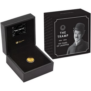 2014 P Tuvalu Gold Charlie Chaplin 100 Years of Laughter Quarter Ounce PF Coin in OGP