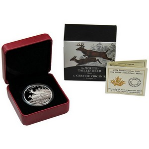 2014 Canada Silver White-Tailed Deer Mates 1oz Proof in OGP