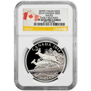 2014 Canada Silver White-Tailed Deer Mates 1oz PF69 UC ER NGC Country Label