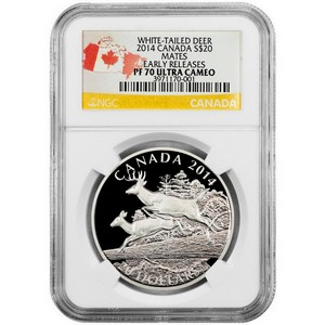 2014 Canada Silver White-Tailed Deer Mates 1oz PF70 UC ER NGC Country Label