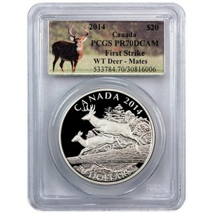 2014 Canada Silver White-Tailed Deer Mates 1oz PR70 DCAM FS PCGS Deer Label