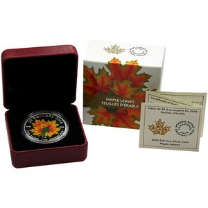 2014 Canada Maple Leaves Glow-in-the-Dark Silver 1oz Proof in OGP