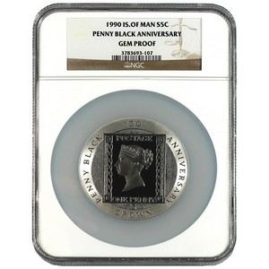 1990 Isle of Man Silver Penny Black Stamp Anniversary 5oz Gem Proof NGC