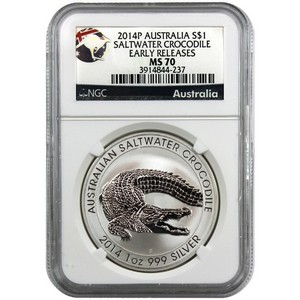 2014 P Australia Silver Saltwater Crocodile 1oz MS70 ER NGC Country Label