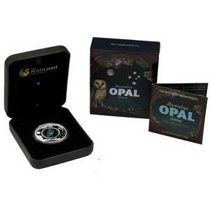 2014 P Australia Silver 1oz Opal Series Masked Owl Proof in OGP