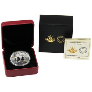 2015 Canada Silver Winter Scene Ice Dancer 1oz Colorized Proof in OGP