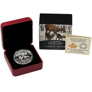 2014 Canada Silver White-Tailed Deer Doe and Her Fawns 1oz Proof in OGP