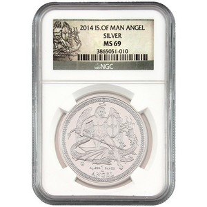 2014 Isle of Man Silver Angel 1oz MS69 NGC
