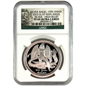 2010 Isle of Man Silver Angel 1oz High Relief PF69 UC NGC 15th Anniversary Label