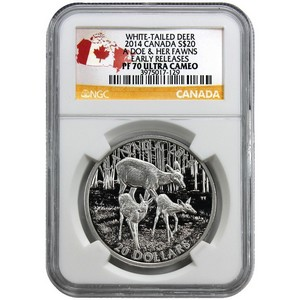 2014 Canada Silver White-Tailed Deer Doe and Her Fawns 1oz PF70 UC ER NGC Country Label