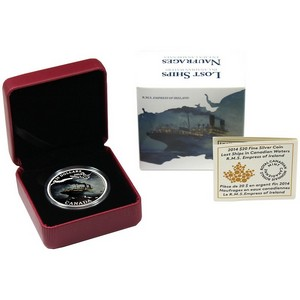 2014 Canada Silver Lost Ships in Canadian Waters: Empress of Ireland Colorized 1oz Proof in OGP