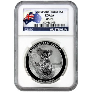2015 P Australia Silver Koala 1oz MS70 NGC Country Label