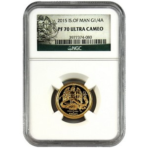 2015 Isle of Man Gold Angel Quarter Ounce PF70 UC NGC
