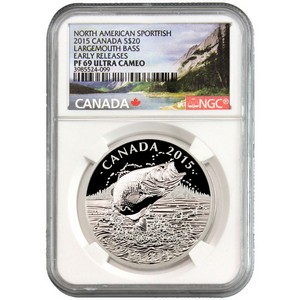 2015 Canada Silver North American Sportfish Largemouth Bass 1oz PF69 UC ER NGC Fish Label
