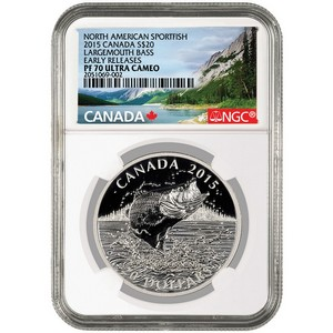 2015 Canada Silver North American Sportfish Largemouth Bass 1oz PF70 UC ER NGC Fish Label