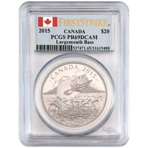 2015 Canada Silver North American Sportfish Largemouth Bass 1oz PR69 DCAM PCGS Country Label